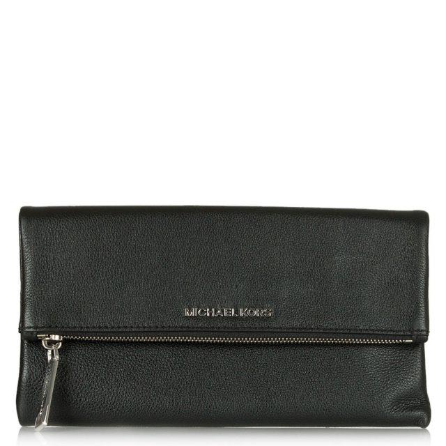 a465fabbc267 Michael Kors Black Jane Foldover Black Leather Zip Fastening Clutch