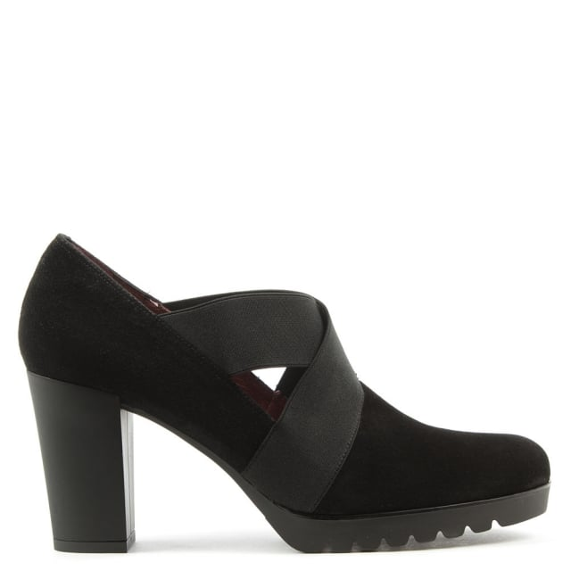 Janie Black Suede Cross Elastic Block Heel Shoe