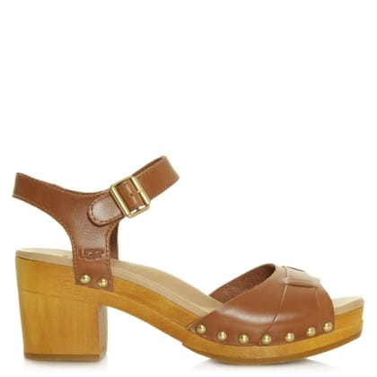 Janie Tan Leather Strap Sandal