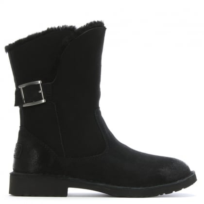 Jannika Black Suede Twinface Ankle Boots