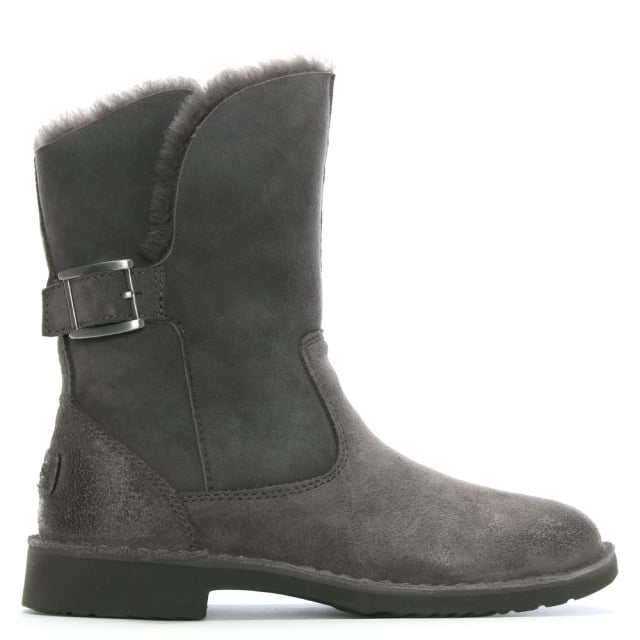 Jannika Charcoal Suede Twinface Ankle Boots