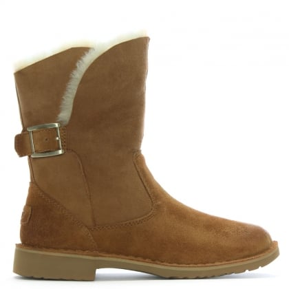 Jannika Chestnut Suede Twinface Ankle Boots