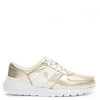 Jay Gold Leather Sporty Lace Up Trainers