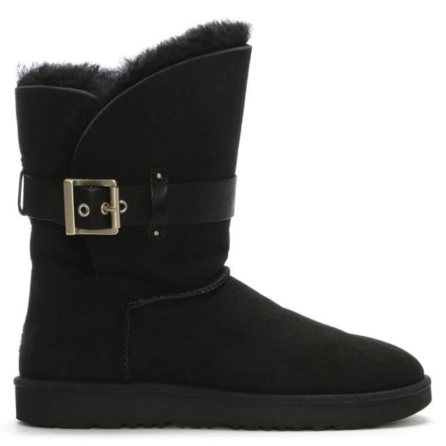 ba938b5022f Jaylyn Black Suede Buckle Twinface Ankle Boots