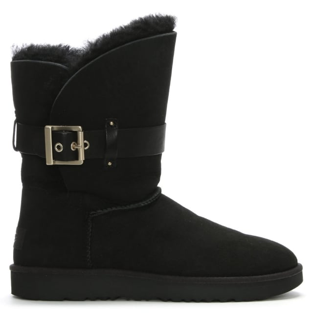 Jaylyn Black Suede Buckle Twinface Ankle Boots