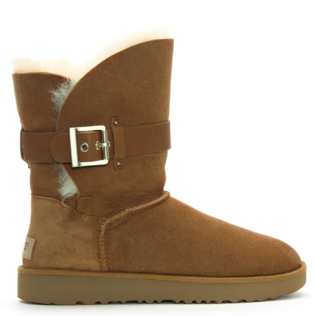 6c1c6eeedbc Jaylyn Chestnut Suede Buckle Twinface Ankle Boots