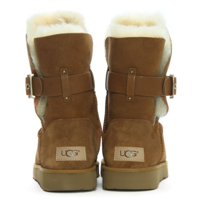 028056e608f Jaylyn Chestnut Suede Buckle Twinface Ankle Boots
