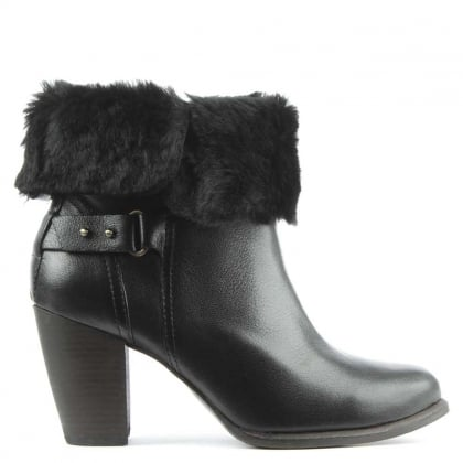 Jayne Black Leather Stacked Heel Ankle Boot