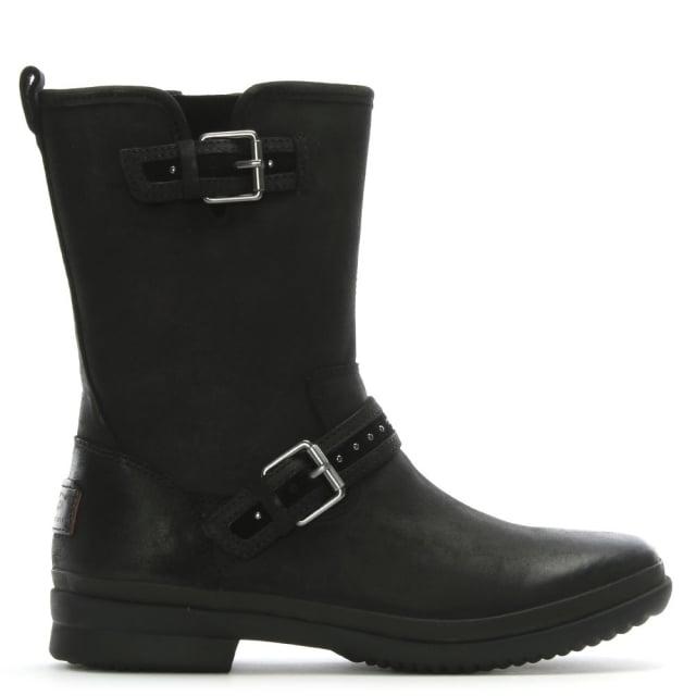 15c5596acd7 Jenise Black Leather Rain Boots