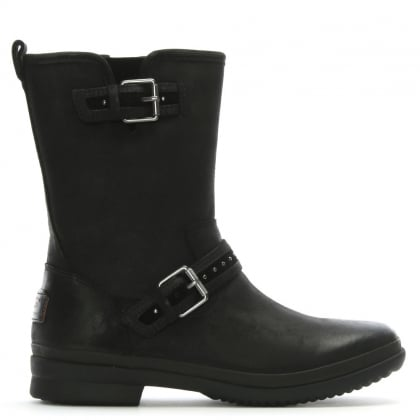 Jenise Black Leather Rain Boots