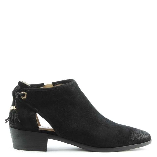 michael kors jennings black suede flat ankle boot