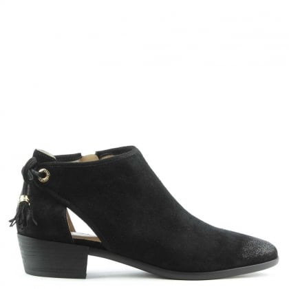 Jennings Black Suede Flat Ankle Boot