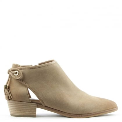Jennings Dark Khaki Suede Flat Ankle Boot
