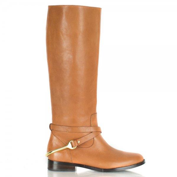 Lauren by Ralph Lauren Jenny Knee Tan Leather Flat Boot 7ca1f1adaa85