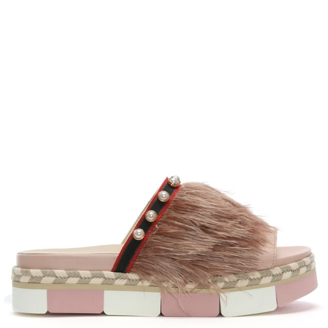 Jepp Pink Leather Feather & Pearl Flatform Mules
