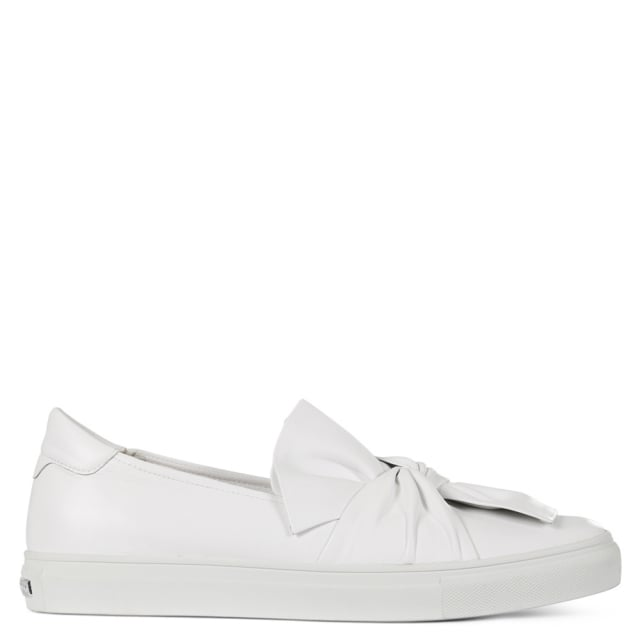 Jerome White Leather Knotted Bow Trainers