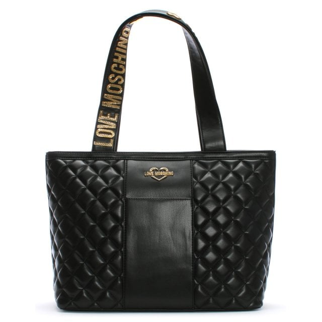 c96237c959 Jersey Black Leather Quilted Shopper Bag