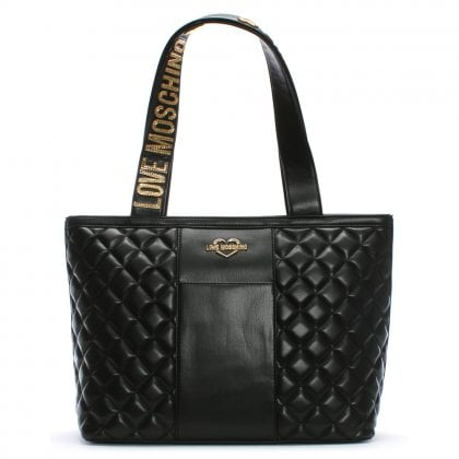 Jersey Black Leather Quilted Shopper Bag