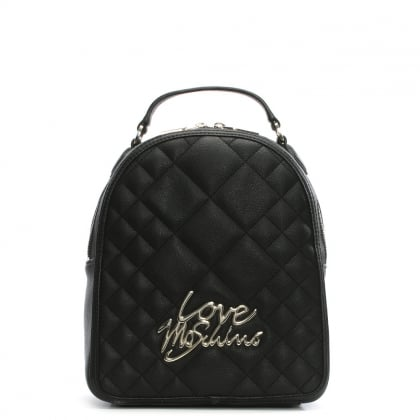 Jess Black Quilted Backpack