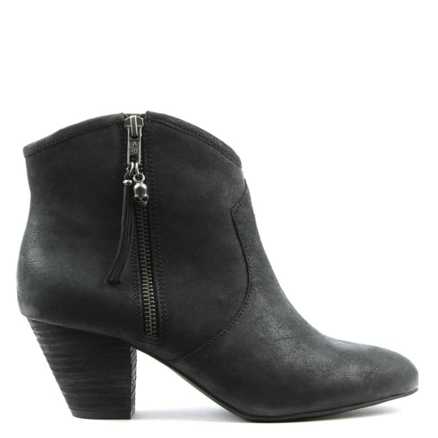 Jess Black Suede Ankle Boots