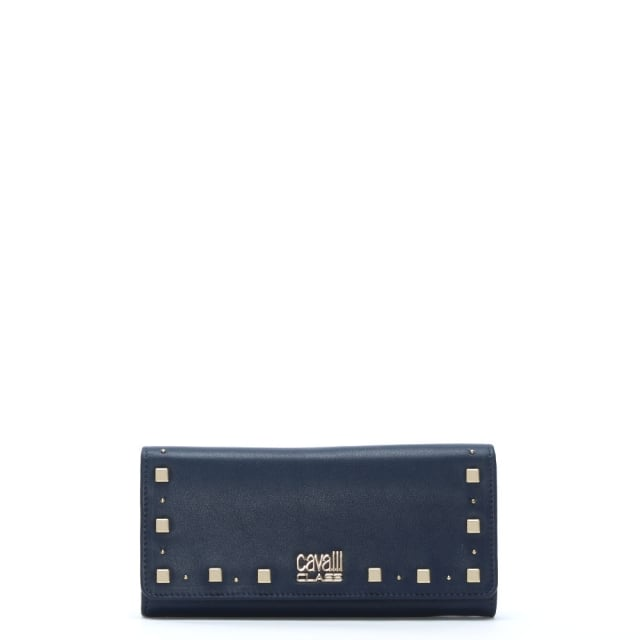 Jet Set Blue Leather Studded Wallet