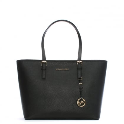 Jet Set Large Black Leather Top Zip Tote Bag