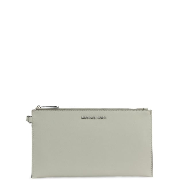 Jet Set Large Cement Leather Zip Clutch