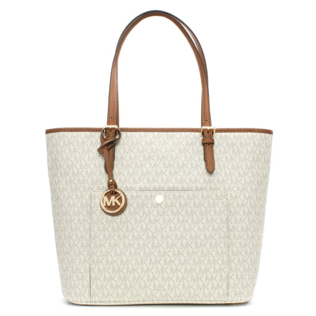Michael Kors Jet Set Large Vanilla Coated Canvas Snap Pocket Tote Bag df68d6642800