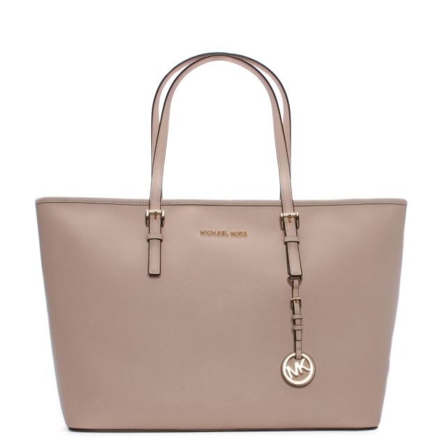 Jet Set Multifunctional Soft Pink Leather Top Zip Tote