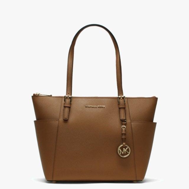 8f0a0d991da8 Michael Kors Jet Set Pocket Acorn Leather Top Zip Tote Bag
