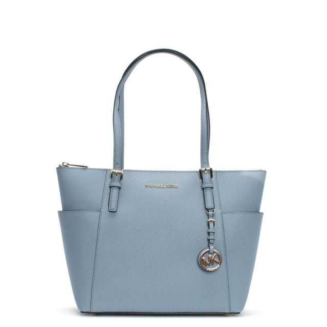 Jet Set Pocket Pale Blue Leather Top Zip Tote Bag