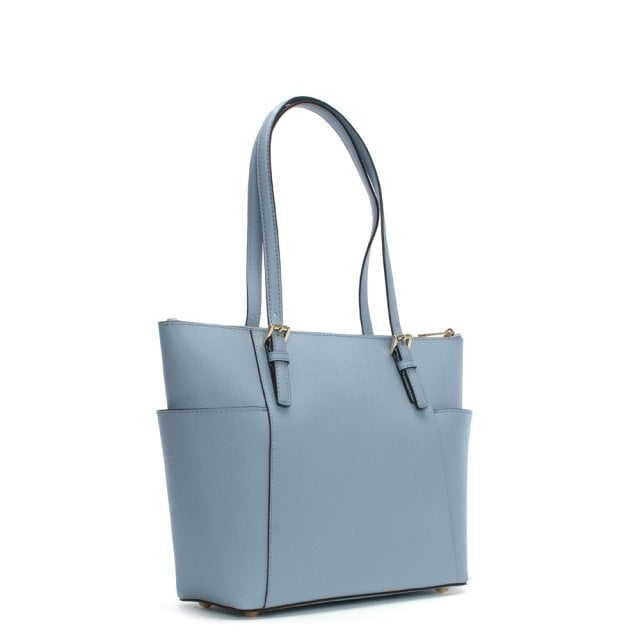 ea4addb544e9 Michael Kors Jet Set Pocket Pale Blue Leather Top Zip Tote Bag