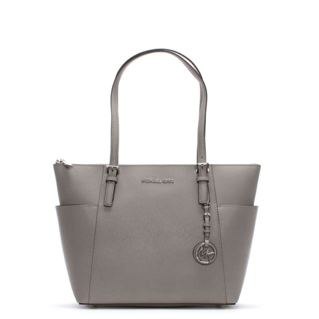 bcf2fbe7e5ea Michael Kors Jet Set Pocket Pearl Grey Leather Top Zip Tote Bag