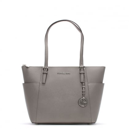 Jet Set Pocket Pearl Grey Leather Top Zip Tote Bag