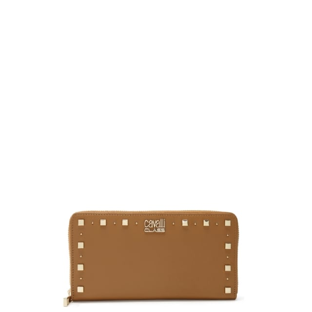 Jet Set Tan Leather Studded Zip Around Wallet