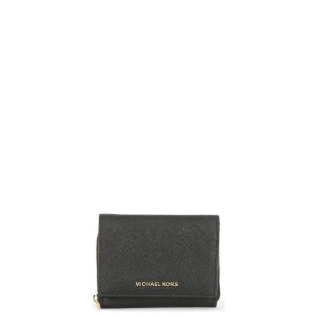 edeedd385c01 Michael Kors Jet Set Travel Black Saffiano Leather Billfold Wallet