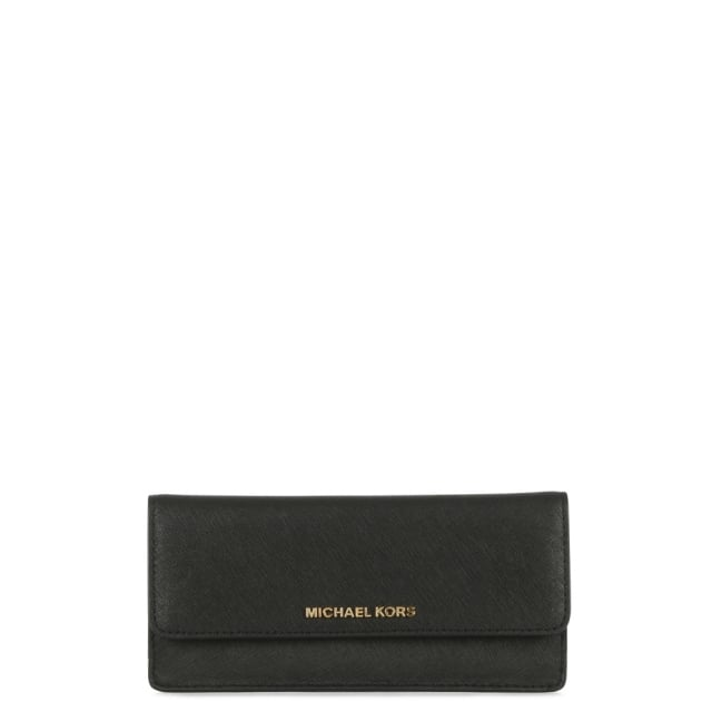 Jet Set Travel Black Saffiano Leather Slim Wallet