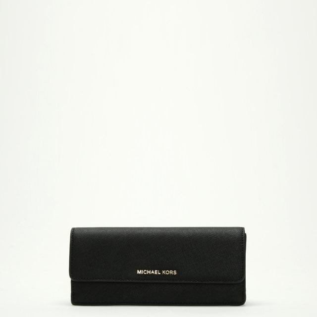 81386b8b99277 Michael Kors Jet Set Travel Black Saffiano Leather Slim Wallet