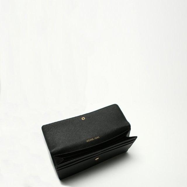 03c0ab04c813 Michael Kors Jet Set Travel Black Saffiano Leather Slim Wallet