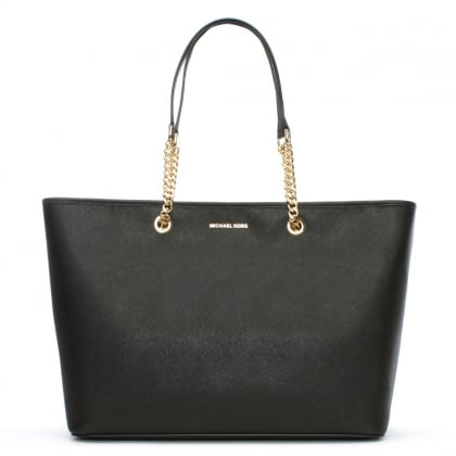 black and gray michael kors bag f759  Michael Kors Jet Set Travel Large Black Leather Top Zip Multifunctional Tote  Bag