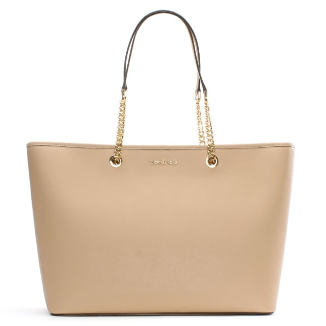 0e7b7911126036 Michael Kors Jet Set Travel Large Oyster Leather Top Zip Multifunctional Tote  Bag