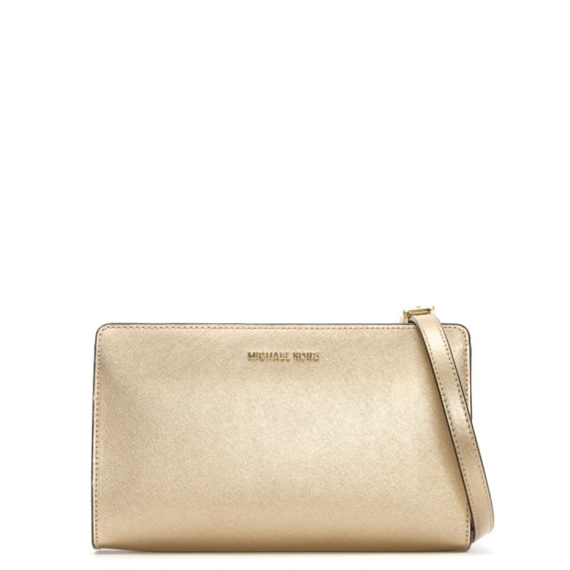 abfa926af2629 Michael Kors Jet Set Travel Large Pale Gold Saffiano Leather Clutch Bag
