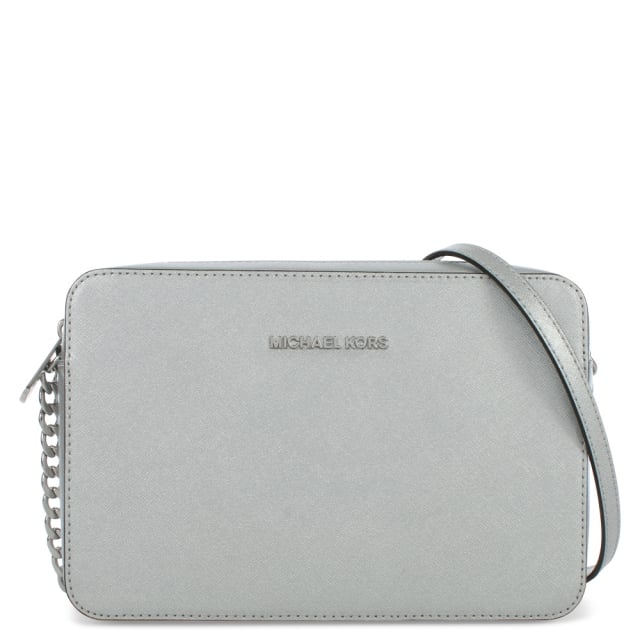 Jet Set Travel Large Silver Leather EW Cross-Body Bag