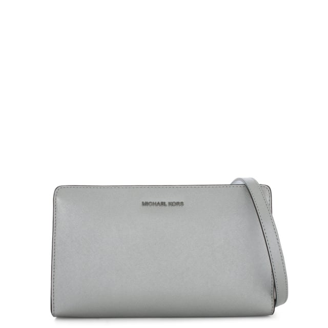 Jet Set Travel Large Silver Saffiano Leather Clutch Bag