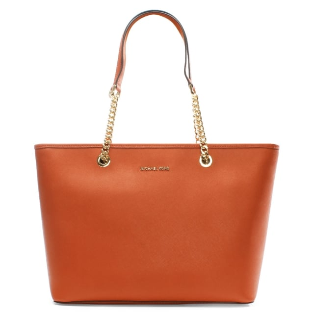 Jet Set Travel Orange Leather Multifunctional Top Zip Tote Bag