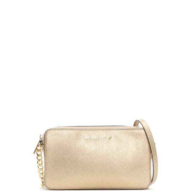 6d41114092fd3d Michael Kors Jet Set Travel Pale Gold Saffiano Leather Cross-Body Bag