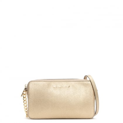 Jet Set Travel Pale Gold Saffiano Leather Cross-Body Bag