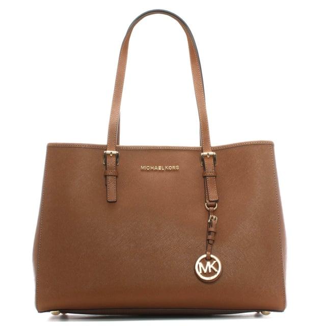 b42585dd362a Michael Kors Jet Set Travel Tan Large Leather Tote Bag