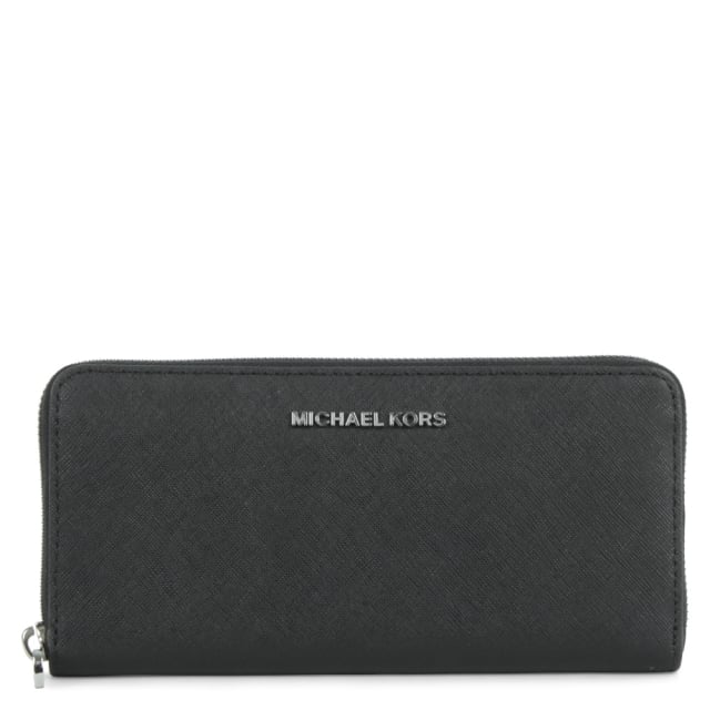Jet Set Zip Around Continental Black Leather Wallet