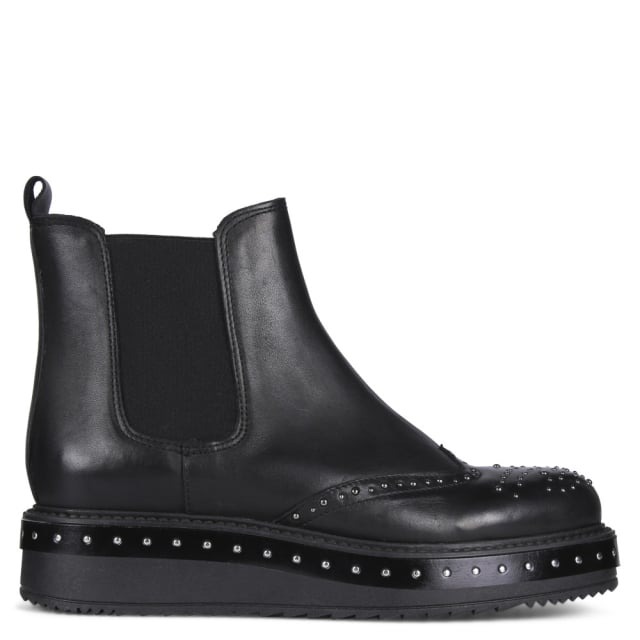 Jetsam Black Leather Studded Chelsea Boots